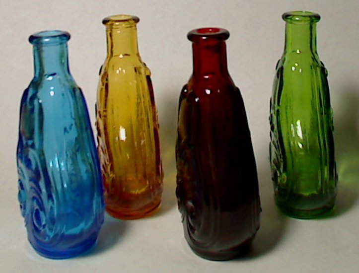 4 Vintage Wheaton Miniature Scroll Flask Bottles Ruby Red - Click Image to Close