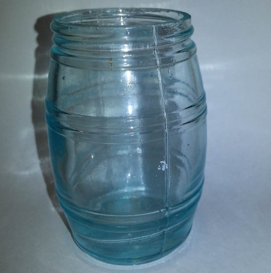 Aqua Glass Jar, Barrel Form with Star on Base, Ground Mouth - Click Image to Close