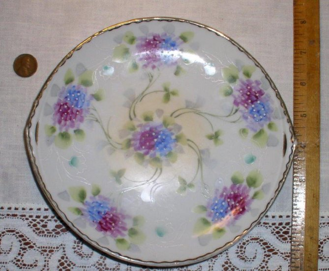 Hand Painted Nippon Tray Handled with flowers Japan - Click Image to Close