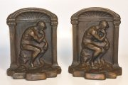 Antique cast iron Rodin thinker bookends or doorstops Free Ship