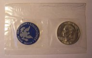"1974-S ""Blue Ike"" Eisenhower 40% Silver Dollar Gem Unc US Mint"