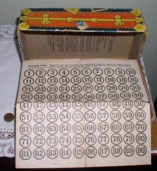 1932 Milton Bradley Lotto Board Game Suitcase Box Wood - Click Image to Close