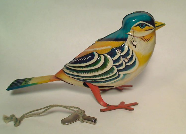 1950s TN Nomura Tin Wind-up Bird Toy, Bluebird, Vintage Japan - Click Image to Close