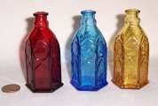 3 Vintage Wheaton Miniature Church Brand Ink Bottles Ruby Blue