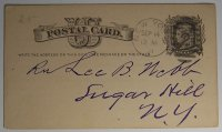 1881 UX5 Postal Card Manhattan Paper Company Lee Webb Sugar Hill