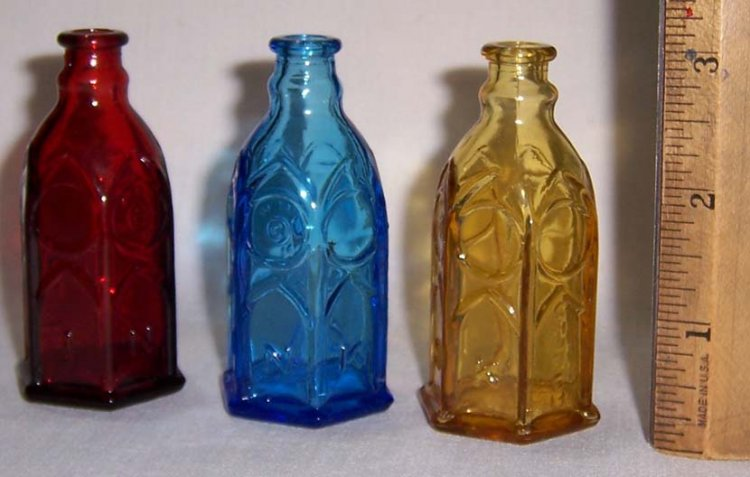 3 Vintage Wheaton Miniature Church Brand Ink Bottles Ruby Blue - Click Image to Close