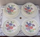 Set of 4 Wedgwood Edme Garden Club Dianthus Cream Soups, Saucers