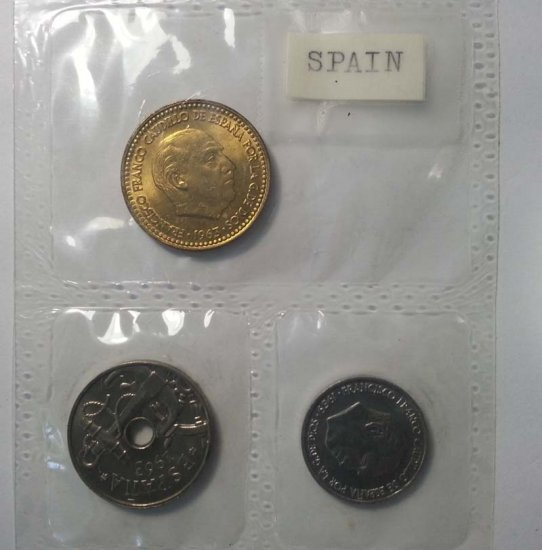 Spain 1963 uncirculated coin set 10, 50 centimos 1 Peseta - Click Image to Close