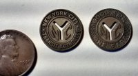 "Two New York City Transit Authority ""Small Y"" Tokens 1953-1970 F"