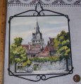 Signed Laufen Tile of Swiss Church Clock Tower Hand Painted