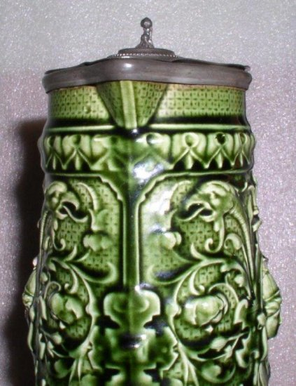 Antique Gustavsberg Art Pottery Pitcher with pewter lid, Sweden - Click Image to Close