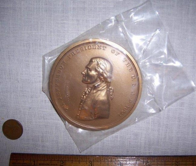 U.S. Mint Thomas Jefferson Indian Peace Medal Bronze, 3 Inches - Click Image to Close
