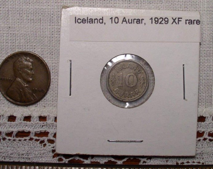Iceland 10 aurar coin, 1929 very fine uncommon - Click Image to Close