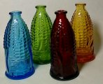 4 Vintage Old Doc's Cure Corn Figural Miniature Bottles Ruby Red
