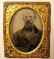 Civil War era Ambrotype, Ruby Red Glass Elder 1/9 plate foil mat