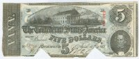 $5 Confederate Note 1863 Richmond VA Redeemed, T60