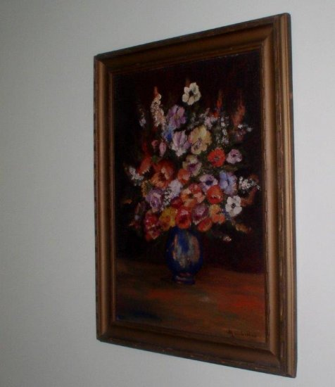 Circa 1930 Oil on Board Still Life, Labbee, Providence RI - Click Image to Close