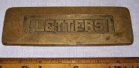 Vintage or Antique Cast Brass Letters Door Slot, Mail
