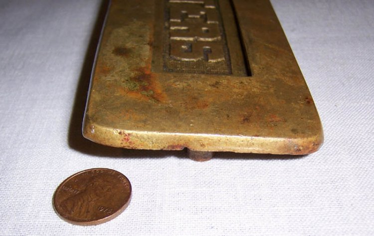 Vintage or Antique Cast Brass Letters Door Slot, Mail - Click Image to Close