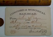 1890 Concord - Montreal Railroad Pass