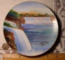 Vintage Hand Painted Niagara Fall Wall Plate, Made in Japan