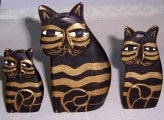 Laurel Burch Cat figurines, set of 3 hand carved wood black gold