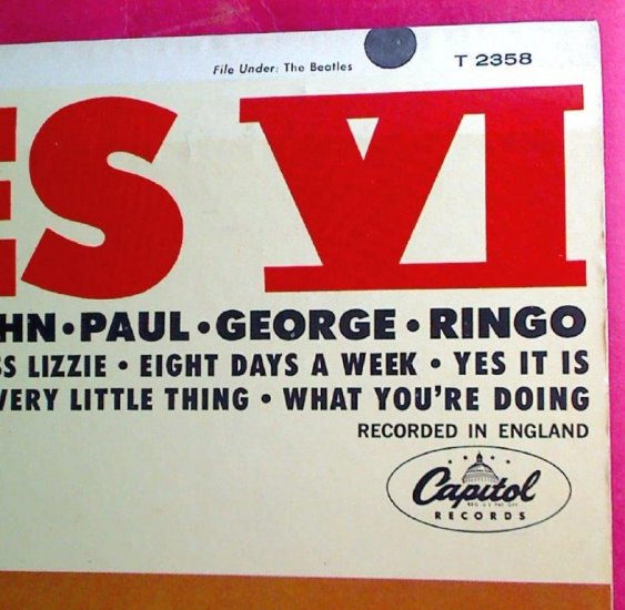 "1965 Beatles VI T2358 Album 1st Back ""See Label..."" ASCAP Error - Click Image to Close"