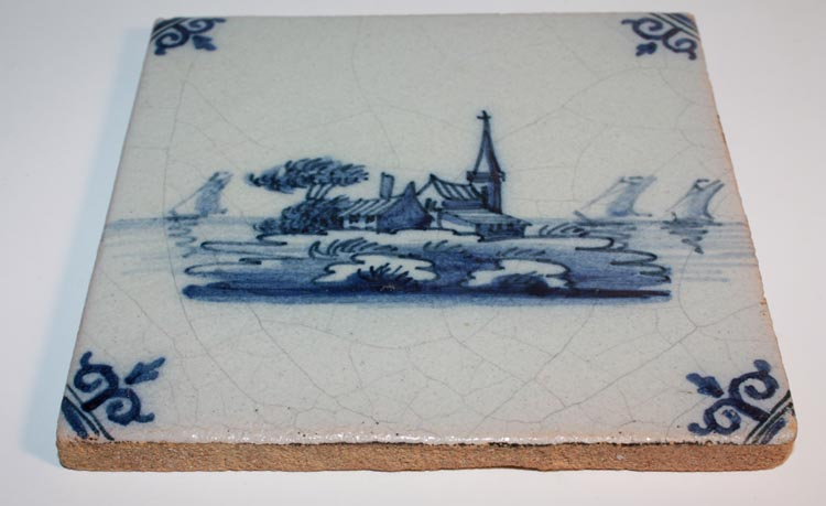Tichelaar Makkum Blue and White Delft Tile Island Sailboats 1 - Click Image to Close