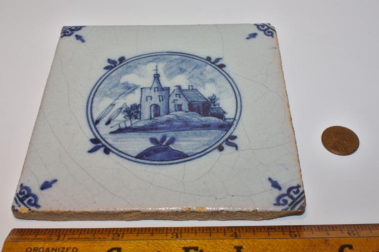 Tichelaar Makkum Blue Delft Tile Landscape Island Sailboats 3 - Click Image to Close