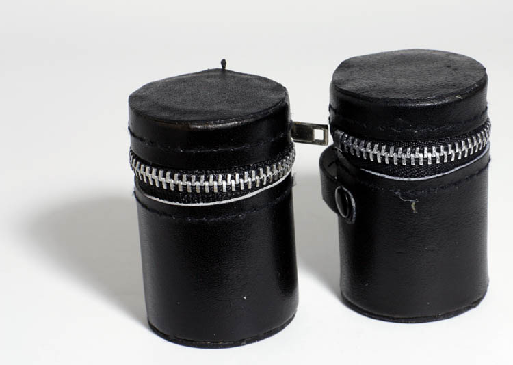 2 Black Faux Leather 35mm Film Canister Holders Case w/ zippers - Click Image to Close