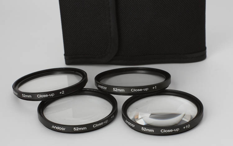 Andoer 52mm Macro Close-Up Lens Filter Set +1 +2 +4 +10 w/ Pouch - Click Image to Close
