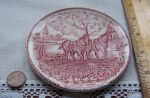 Staffordshire Pink Transferware Coaster, Home on Farm