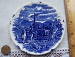 Staffordshire Blue Transferware Coaster, Stagecoach?