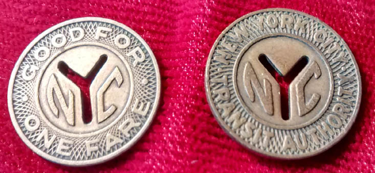 "Two New York City Transit Authority ""Small Y"" Tokens 1953-1970 F - Click Image to Close"