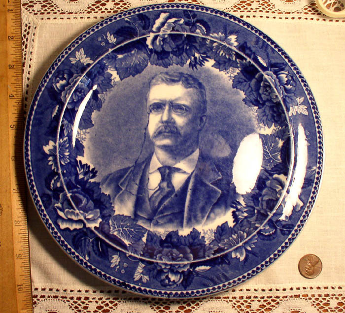 Antique Wedgwood Flow Blue Plate of President Theodore Roosevelt - Click Image to Close